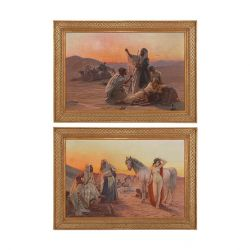 'Trade in the Desert' pair of Orientalist paintings by Pilny
