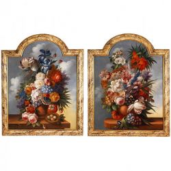Pair of floral still life antique oil paintings