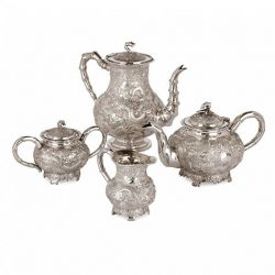 Chinese Qing dynasty silver tea and coffee set by Kwan Wo