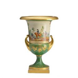 Antique gilded KPM porcelain krater shaped vase