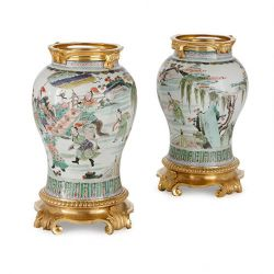Pair of ormolu mounted Chinese famille verte porcelain vases