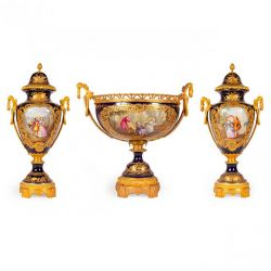 Three piece ormolu and Sèvres porcelain antique garniture