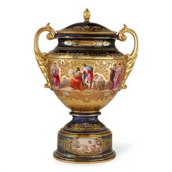 Austrian porcelain antique vase and cover, by Royal Vienna